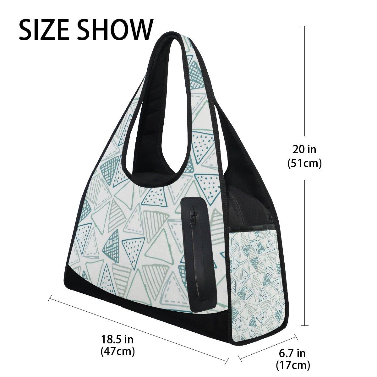 Sport Gym Bag Triangle Pattern Canvas Travel Duffel Bag