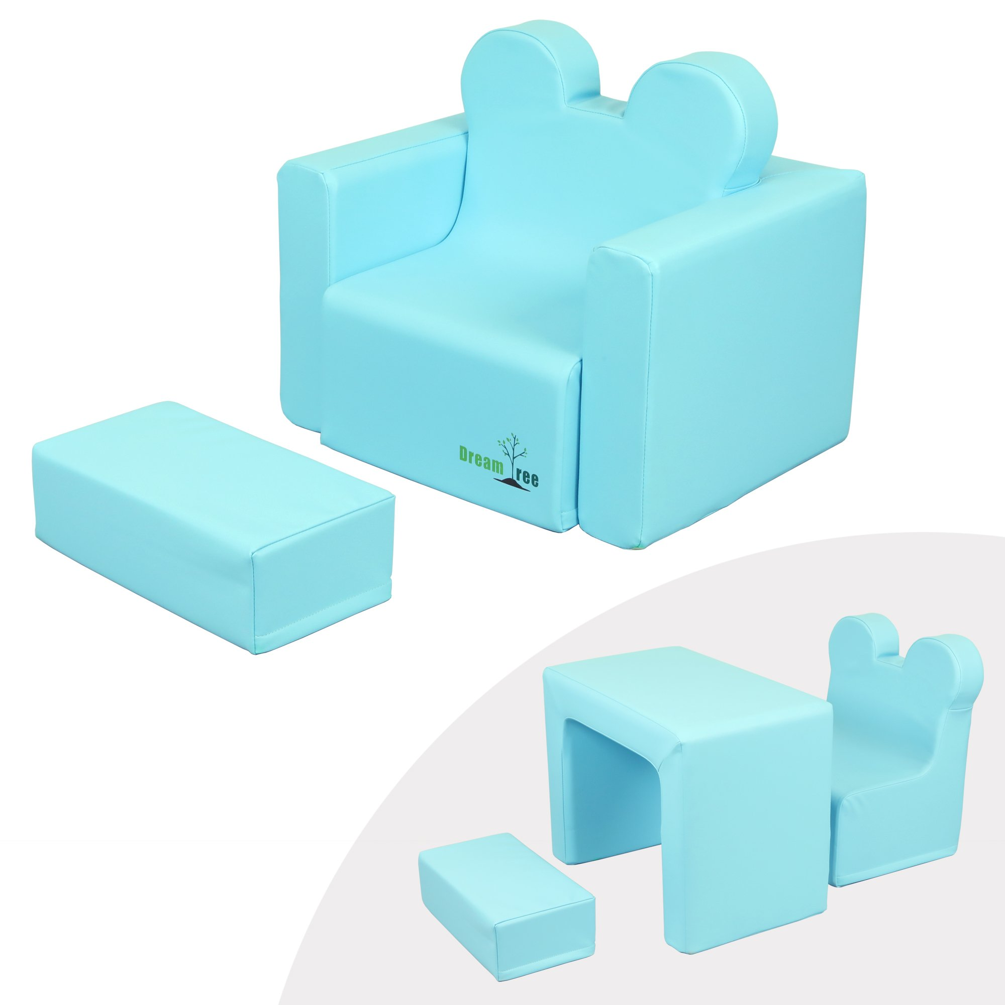 Dream Tree Toddler Table and Chair Set (Sofa Type) Washable, Safe Non-Toxic CPSIA Compliant Soft Foam Furniture for Baby, Kids, and Child - Blue