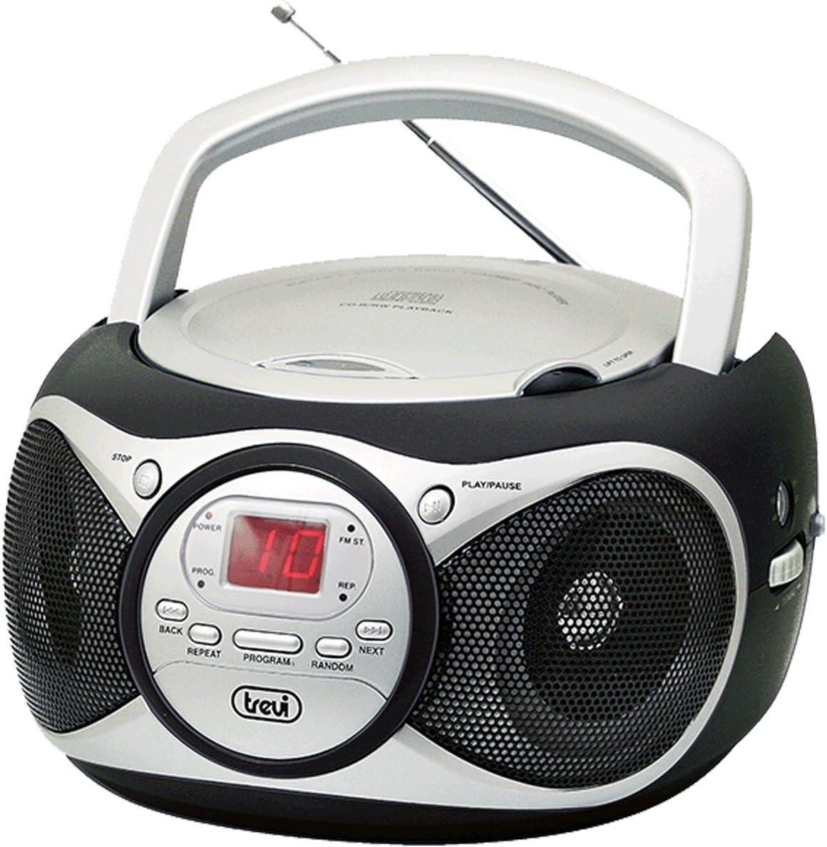 Trevi CD 512 - Radio CD (Digital, Am, FM, 87.5-108 MHz, Jugador, CD, CD-R, CD-RW, 6W) Negro, Plata