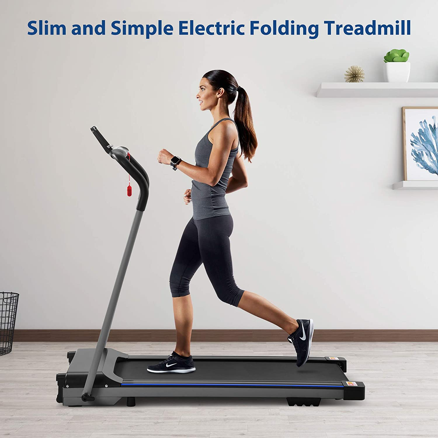 FYC Treadmill for Home Portable Electric Folding Treadmill Running Exercise Machine Compact Treadmill Foldable for Home Gym Office Fitness Workout Jogging Walking Running No Installation Required