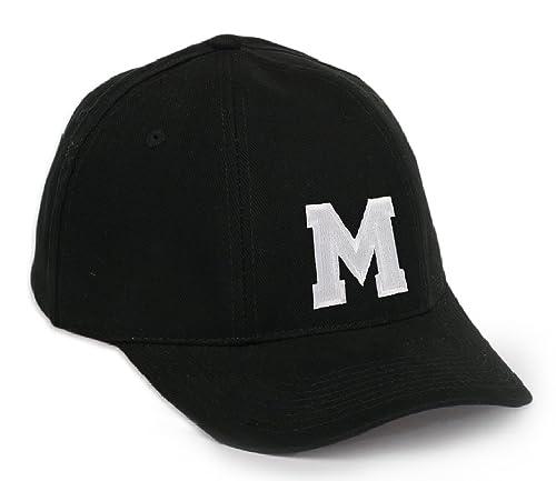 Morefaz Gorra de béisbol, estilo informal, diseño de letra bordada a elegir (de la A a la Z), con correa ajustable