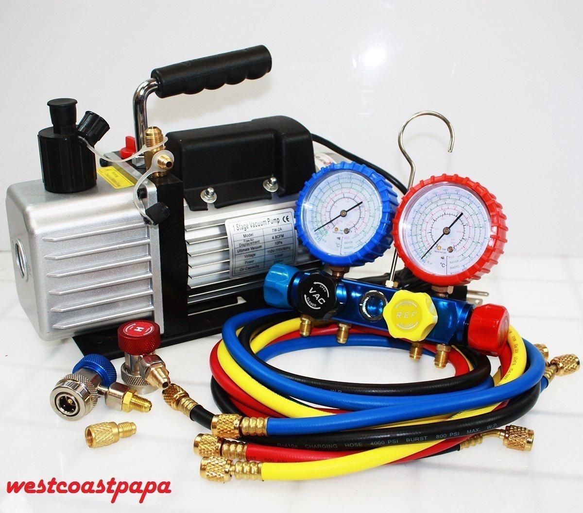 Amazon.com: R410A R134A R22 4.8 CFM Vacuum Pump HVAC A/C Refrigerant W/4VALVE MANIFOLD GAUGE: Home & Kitchen