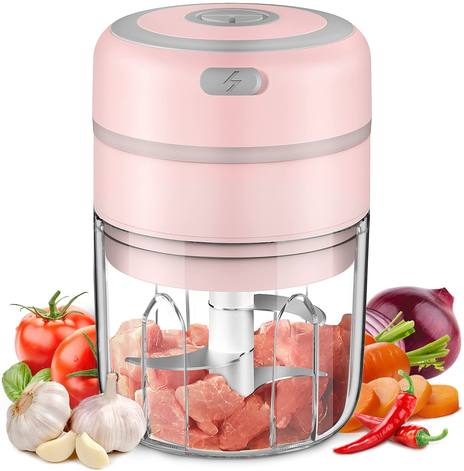 Electric Mini Garlic Chopper, Baby Food Maker 250ML, Kuopry Wireless Portable Food Processor for Meat/Vegetables/Chop Fruits/Onion/Garlic Peeler, Mini Chopper Food Processor-Pink