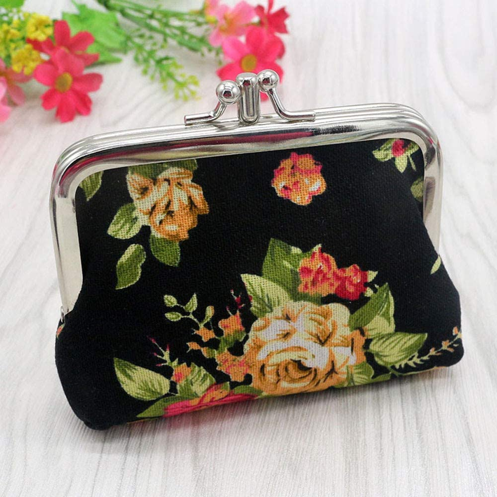 Small Coin Purse Women Floral Print Green Clasp closure with zipper pocket