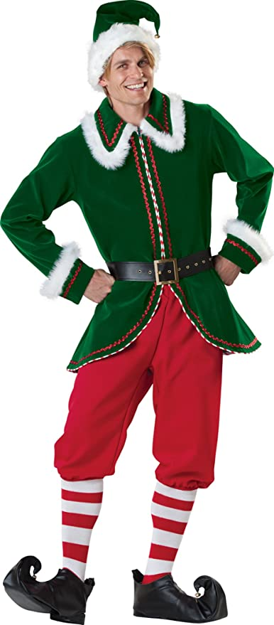 ADULT ELF MASCOT COSTUME CHRISTMAS FANCY DRESS SANTAS GROTTO HELPER PLUSH SUIT