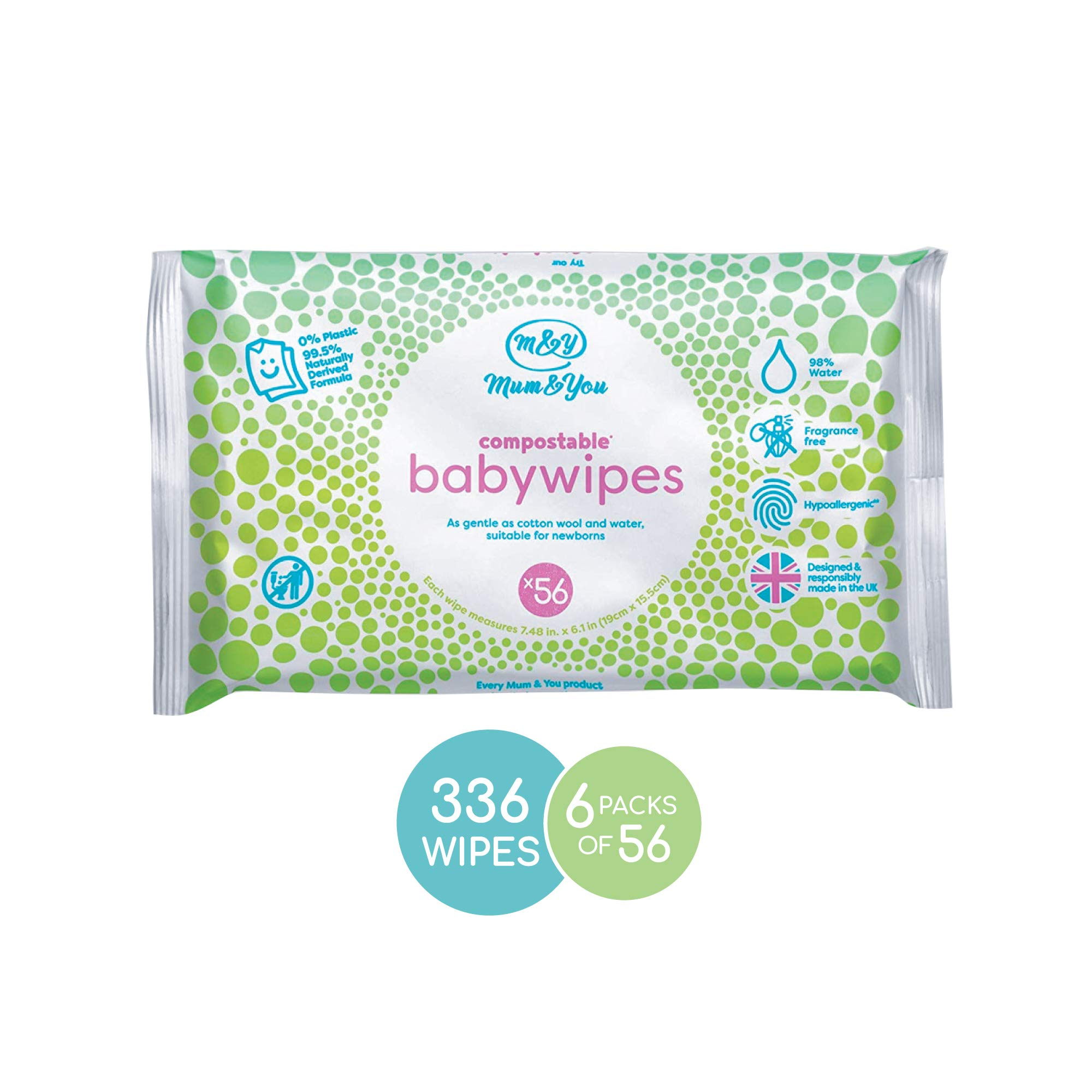 Mum & You Biodegradable and Compostable Plastic Free Baby Wet Wipes 336 Count (6 Packs of 56) - 98% Water, 0% Plastic, Hypoallergenic & Dermatologically Tested by Mum&You