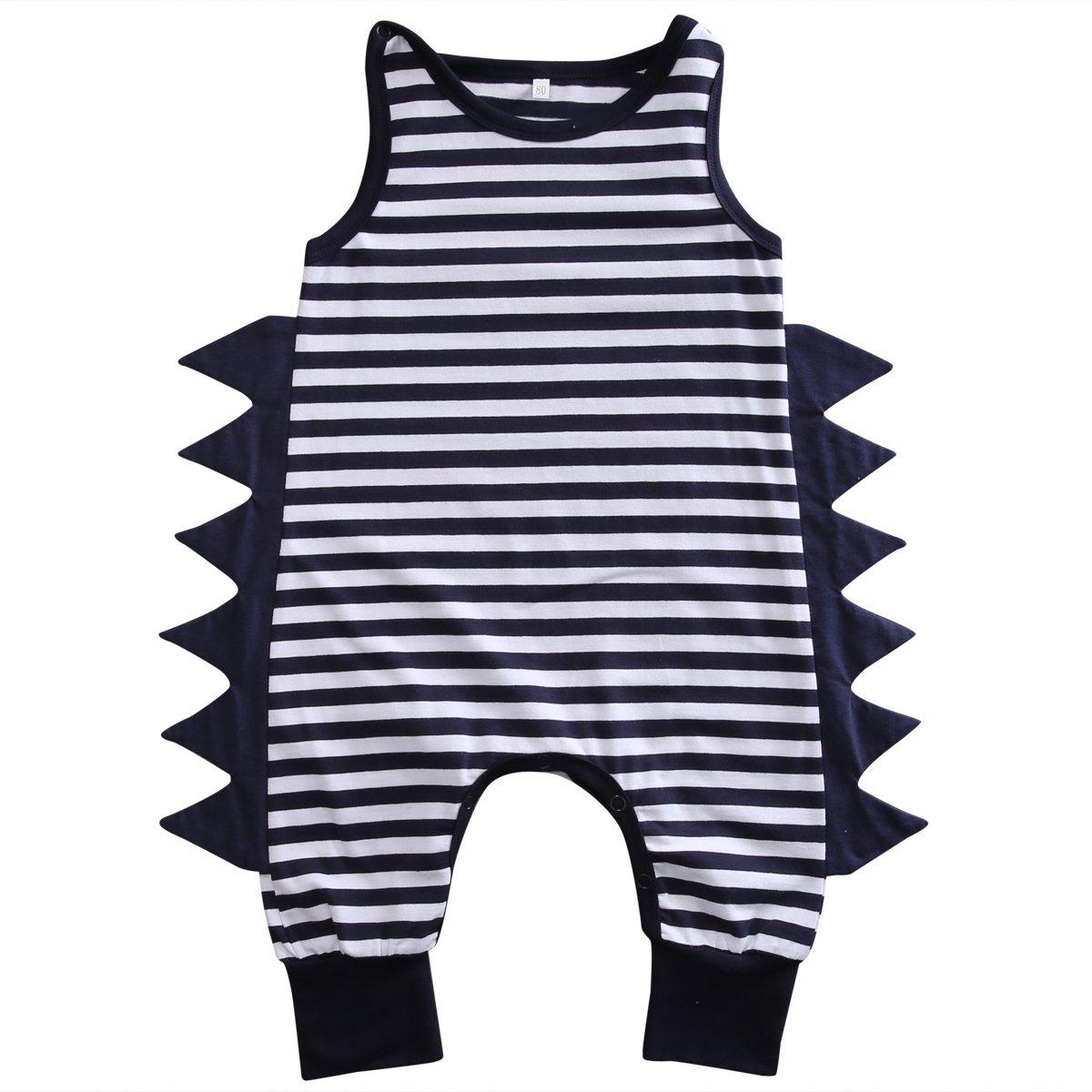 Baby Boys Girls Cotton Sleeveless Dinosaur Harem Bodysuit Romper Jumpsuit