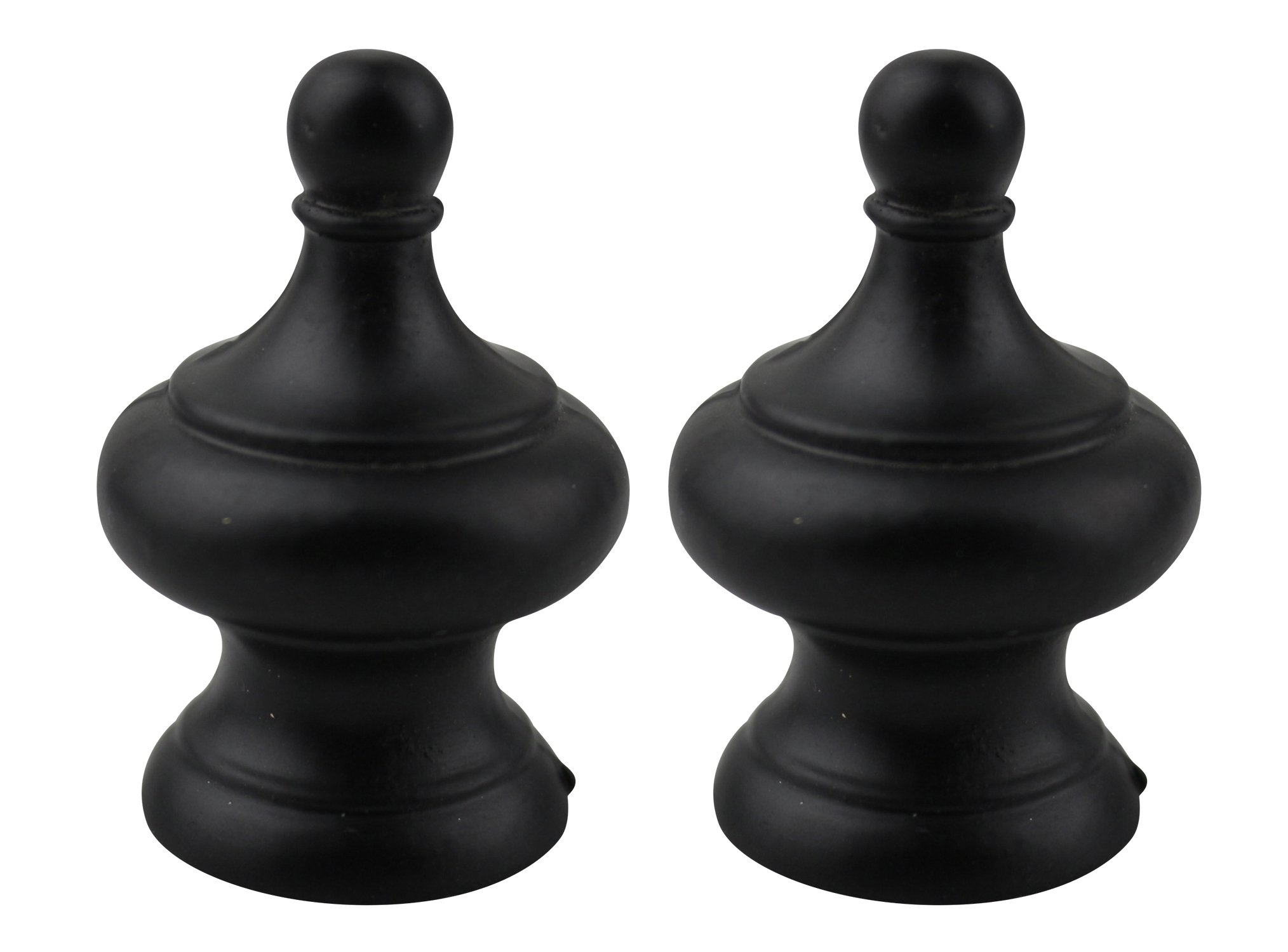 Urbanest Set of 2 Worsley Lamp Finial, 1 3/4-inch Tall, Matte Black