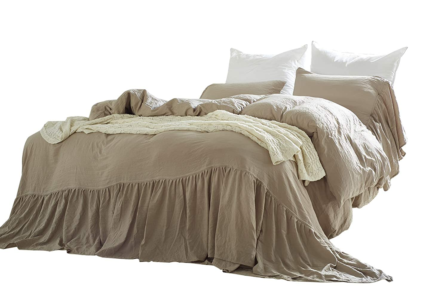 Omelas Taupe Washed Cotton Duvet Cover Set Queen Size Mermaid Tail Fringe Ruffle Comforter Cover Solid Color Vintage Bedding Farmhouse Romantic, 1 Duvet Cover + 2 Pillow Shams (3pcs, Queen/Full)