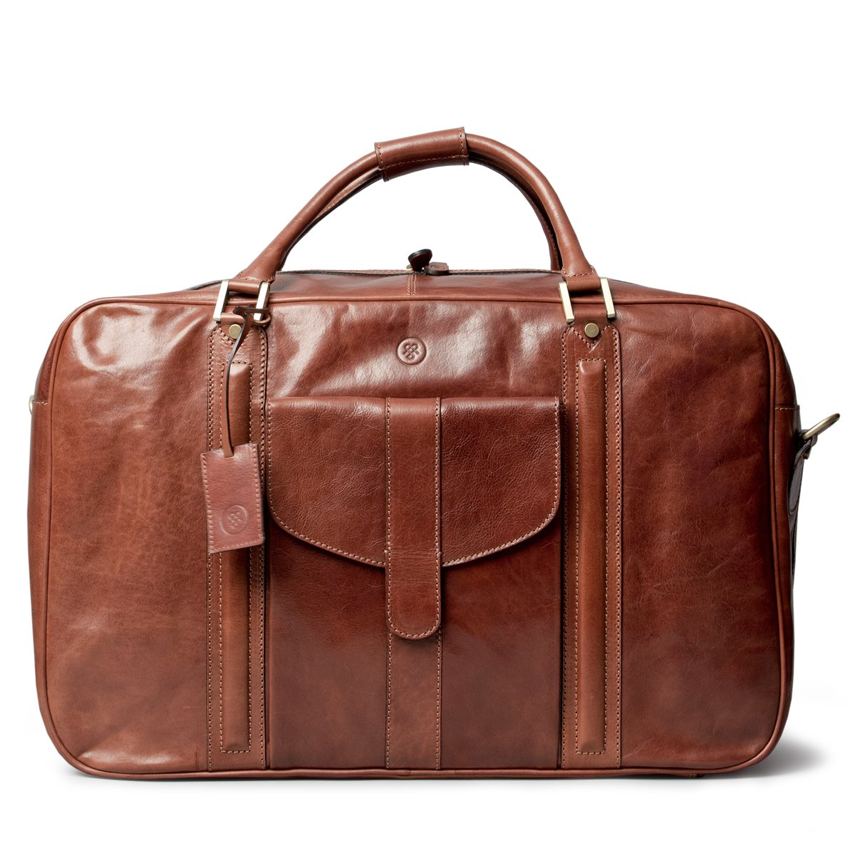 Maxwell Scott Luxury Tan Leather Suitcase Bag for Men (The Maurizio)