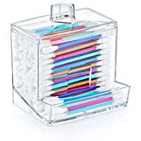 Acrylic Cosmetic Q-tip Cotton Swabs Buds Holder Organizer - Cotton Balls Storage Boxes - Cosmetic Makeup Sticks Box…