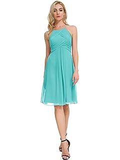 d629fe70e3e Alicepub Chiffon Bridesmaid Dresses Halter Cocktail Dress Short Homecoming Party  Dresses at Amazon Women s Clothing store