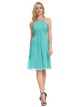 9a81fdb6e7 Alicepub Short Chiffon Bridesmaid Dress Halter Cocktail Party Evening Gown  Sleeveless