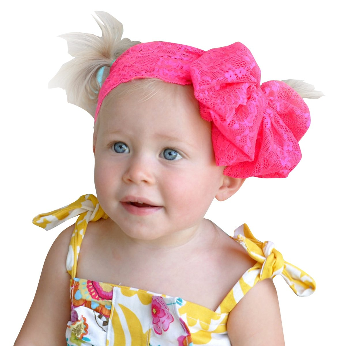 Happy Cherry - Bandeau Cheveux Bébé Enfants Filles – Bandeau Nœud Pappion Large en Dentelle - Accesoire de Coiffure Bébé Filles – Serré-Tête Bébé – 7 Couleurs
