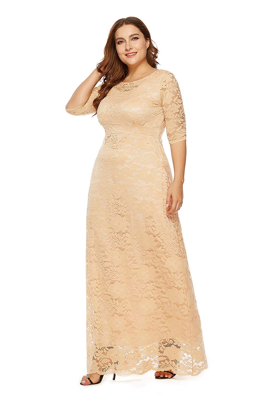 9de27ebfcb2 Amazon.com  Women s Retro Floral Lace Vintage Wedding Maxi Bridesmaid Long  Dress  Clothing