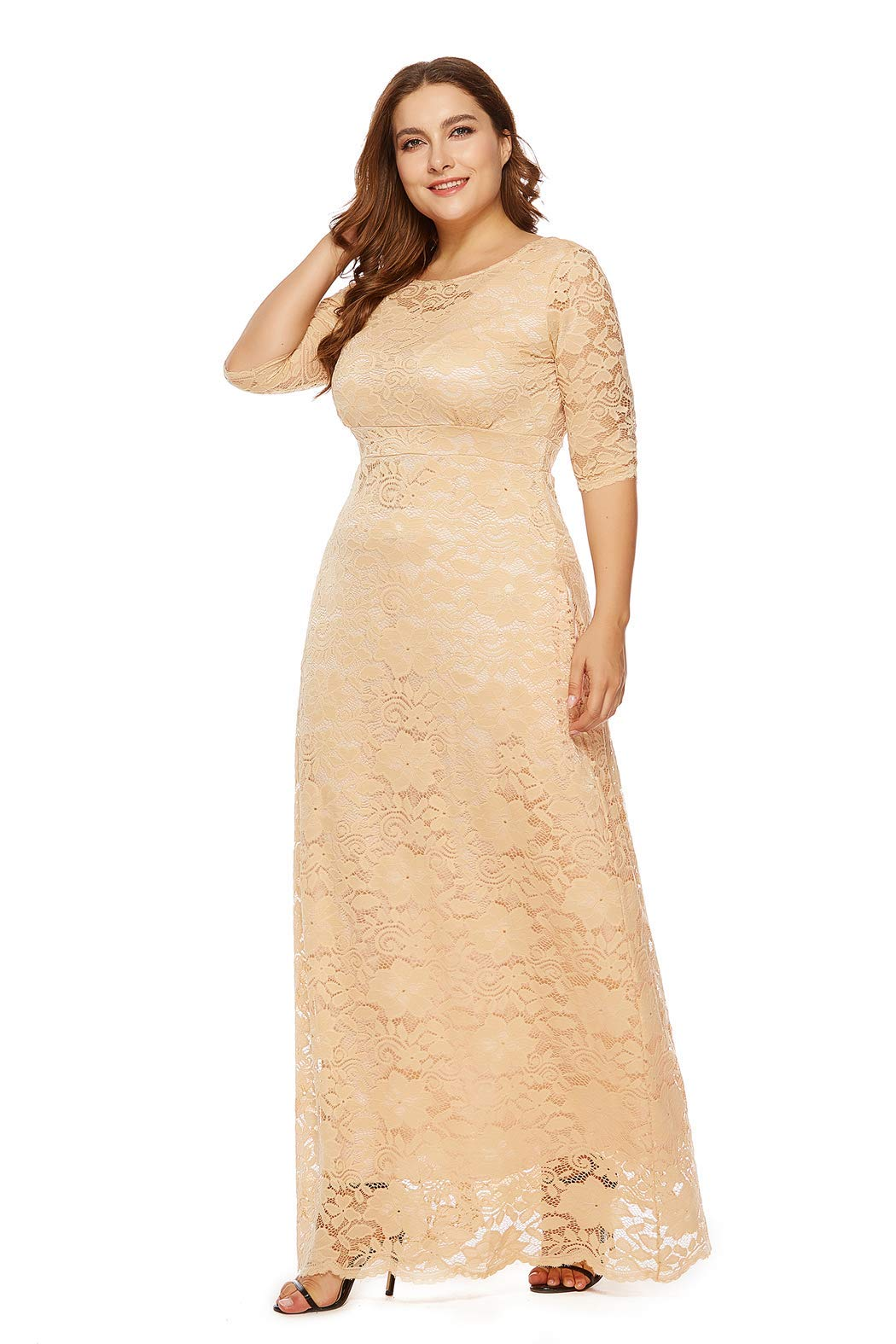 5f8decde34 Womens Floral Lace 2/3 Sleeves Maxi Dress Plus Size Evening Party Dress  Apricot