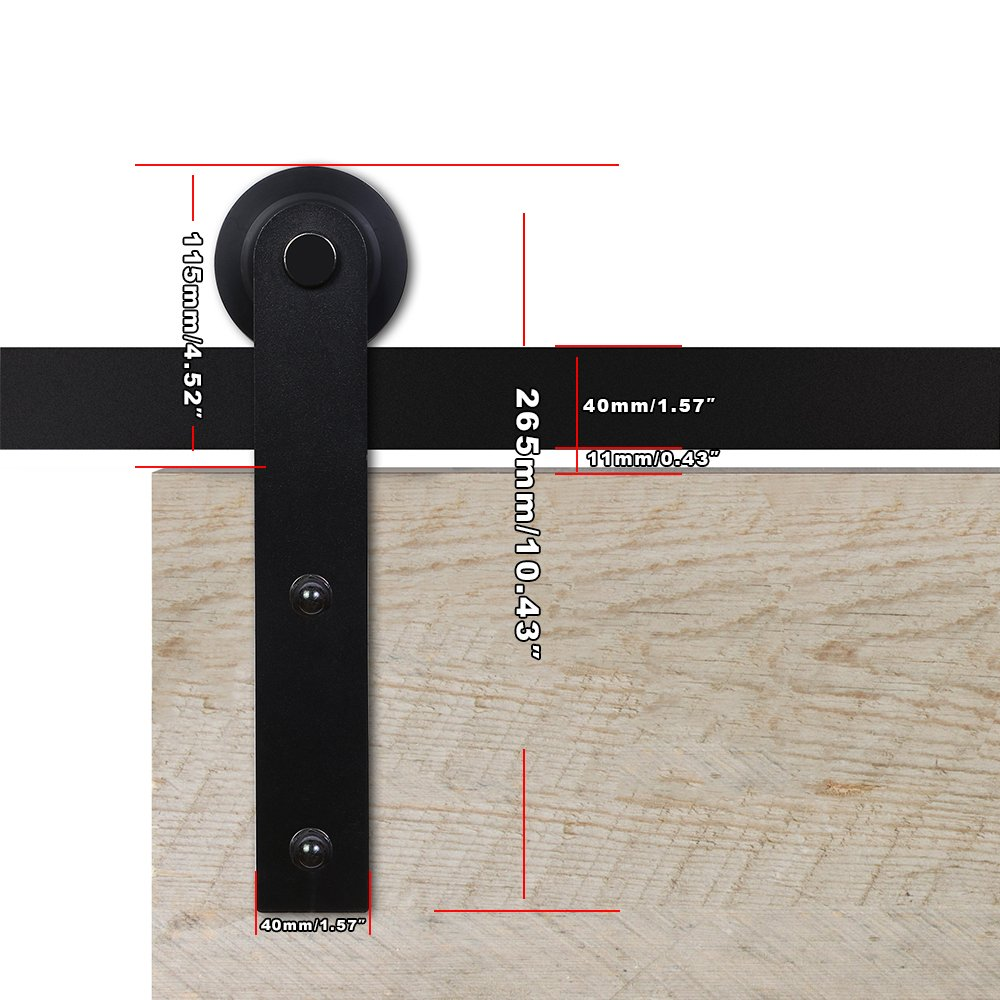 CCJH Country Classic Steel Interior Single Sliding Barn Door Hardware Kit 7 Ft Black by CCJH (Image #6)