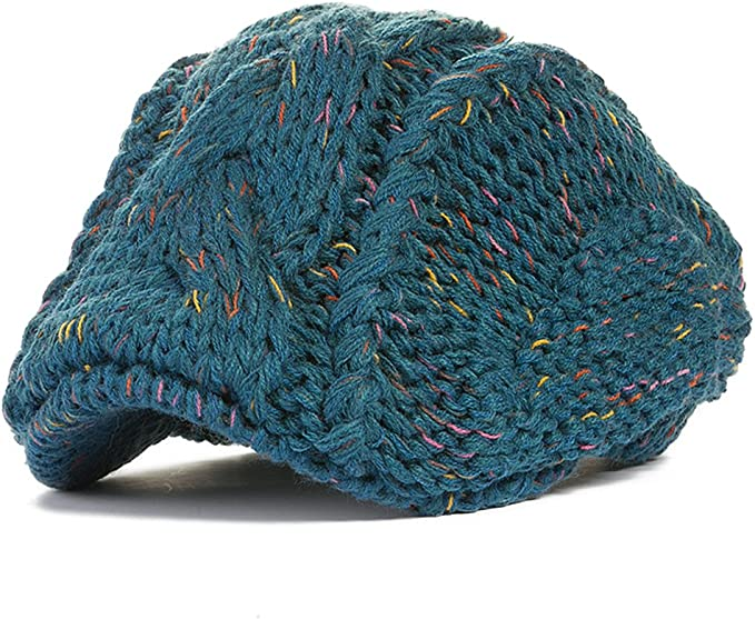 Locomo patrón con Cable Knit Beanie Ganchillo Newsboy Flat Boina ...