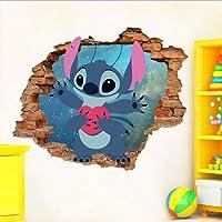 Adesivo de Parede Buraco Falso 3D Infantil Lilo e Stitch - Médio 75x61cm