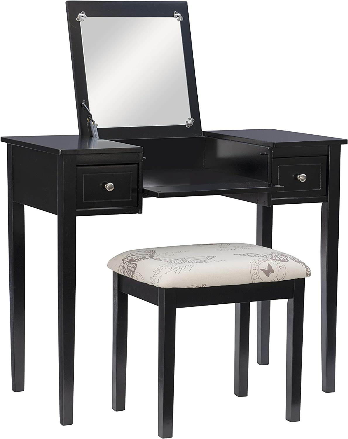 Linon Home Dcor Linon Black Butterfly Stool Vanity Set With Bench 36 W X 18 D X 30 H Furniture Dec Amazon Com