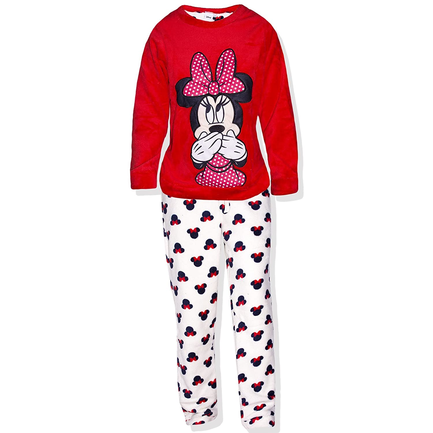 Disney Official Minnie Mouse Character Cartoon Women's Pyjamas Set Lounge Wear Coral Fleece - Sizes 8, 10, 12, 14
