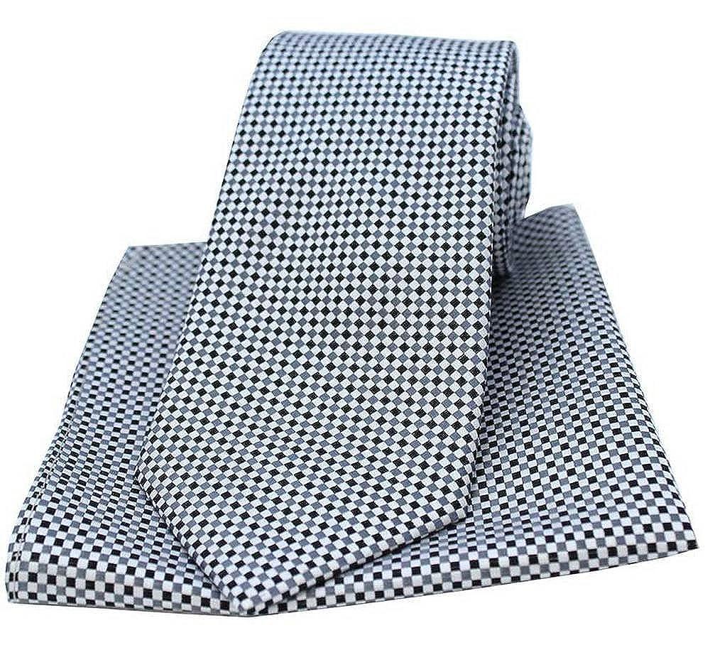 David Van Hagen Mens Neat Checked Tie and Pocket Square Set Silver//Grey
