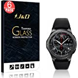 [6-Pack] Gear S3 Frontier Screen Protector, J&D Glass Screen Protector [Tempered Glass] HD Clear Ballistic Glass Screen Protector for Samsung Galaxy Gear S3 Frontier / Classic (LTE Compatible)