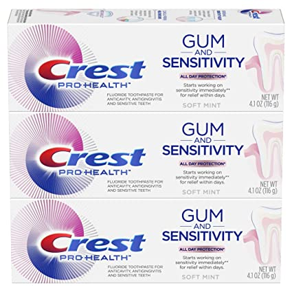 Crest Pro-Health Gum and Sensitivity, Sensitive Toothpaste, All-Day Protection, (Pack of 3), 4.1 oz