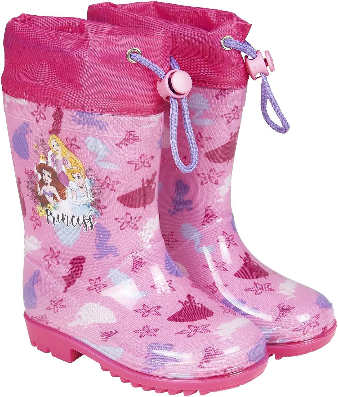 Botas Agua Princesas Disney - Botines Niñas Impermeables Cenicienta Rapunzel Ariel - Suela Antideslizante Fucsia y Cierre Cordón - 5 Tallas - Perletti: Amazon.es: Zapatos y complementos