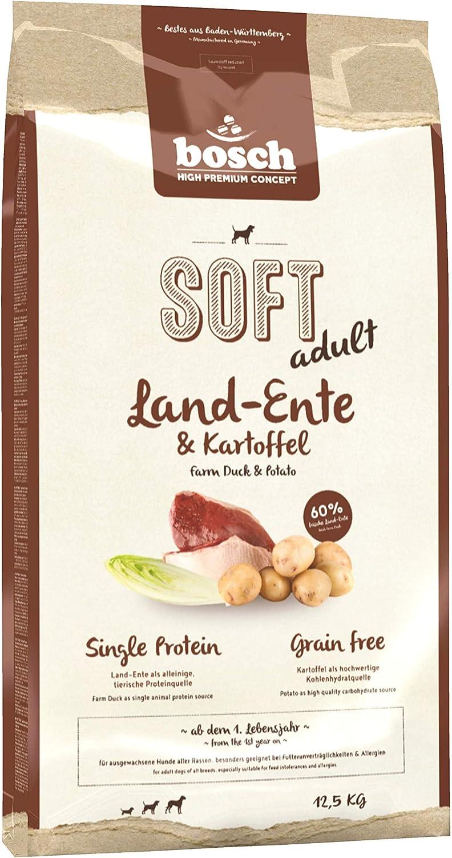 bosch HPC SOFT adult   Pato y Patata   Comida semihúmeda (18 % humedad residual) para perros adultos de todas las razas   Sin Cereales   12,5 kg