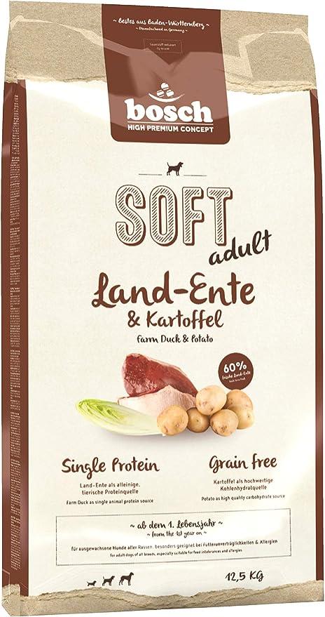 bosch HPC SOFT adult | Pato y Patata | Comida semihúmeda (18 % humedad residual) para perros adultos de todas las razas | Sin Cereales | 12,5 kg