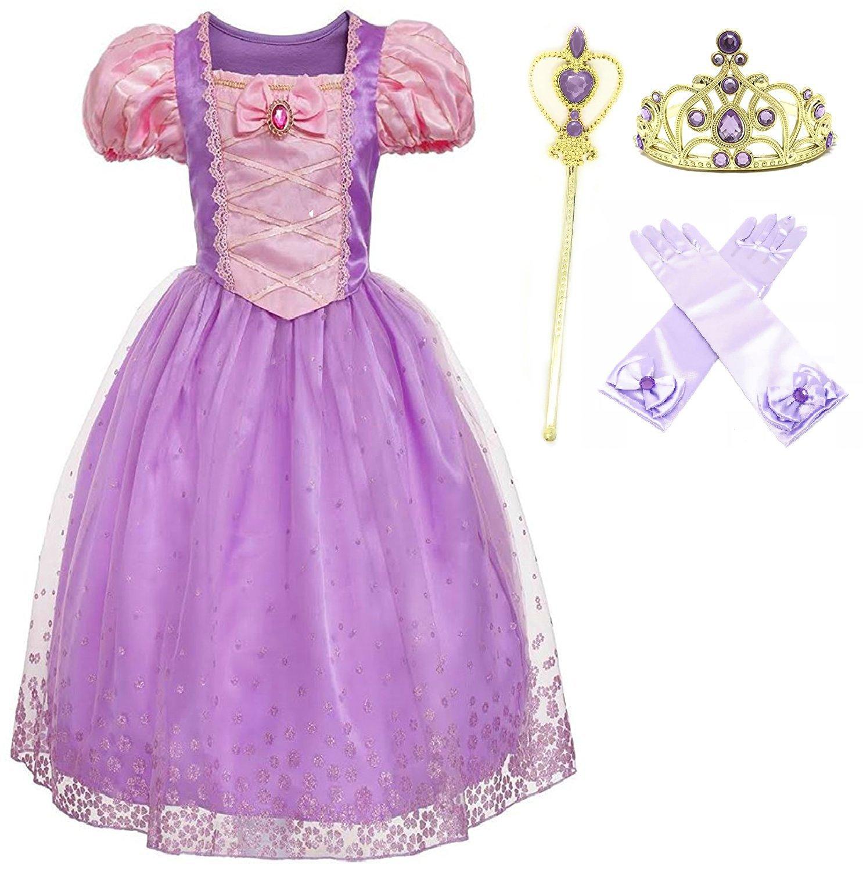 Romy's Collection Princess Rapunzel Party Costume Dress-Up Set (Purple, 4-5)