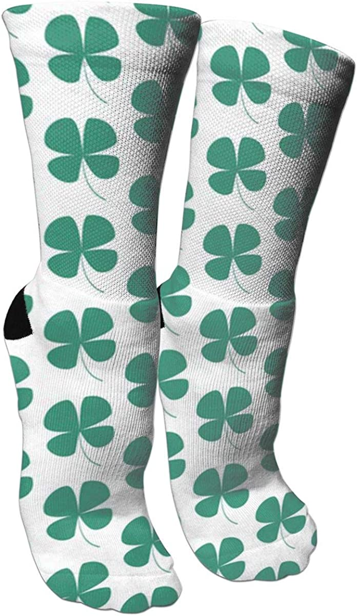 Patricks Day Four Leaf Pattern Casual Socks Crew Socks Crazy Socks Soft Breathable For Sports Athletic Running St