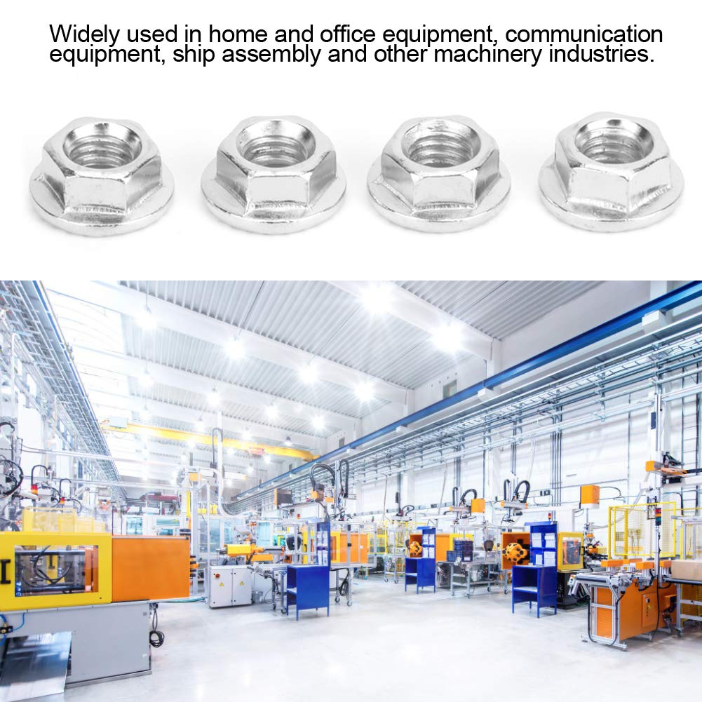 Hex Flange Nut,Flange Nut,100pcs Hex Flange Nut,M5 M8 Nut Fasteners,304 Stainless Steel Fasteners Set for Machinery Industries,Good Corrosion Resistance,Precise Threads M6 M5