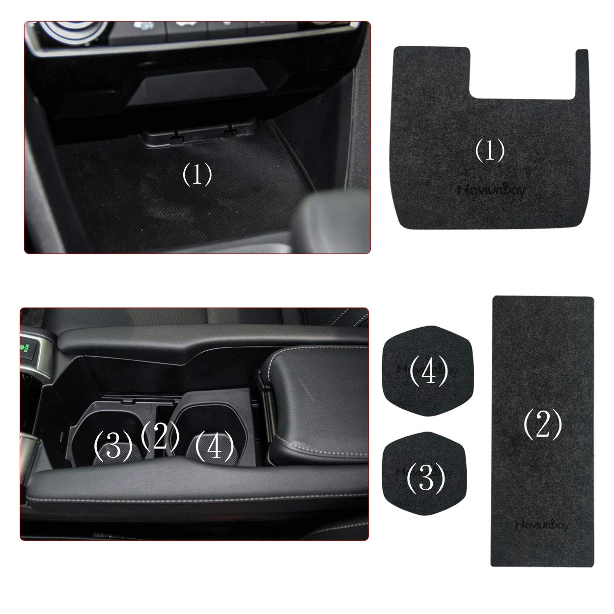 Naviurway Pack of 16 Custom Fit Car Central Console Mats Door Liner Accessories Cup Holder Mats Compatible with Honda Civic Sedan Hatchback 2016 2017 2018 2019 Dark Gray