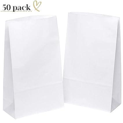 50 bolsas de papel blanco bolsas de regalo 18 x 30 x 8 cm ...