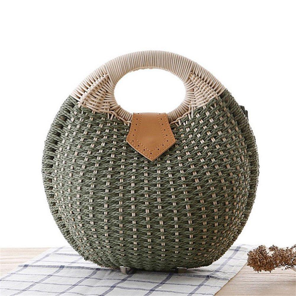 DCRYWRX Womens Summer Hand Weave Straw Top Handle Beach Bag Shell Shape Handbag Rattan,C