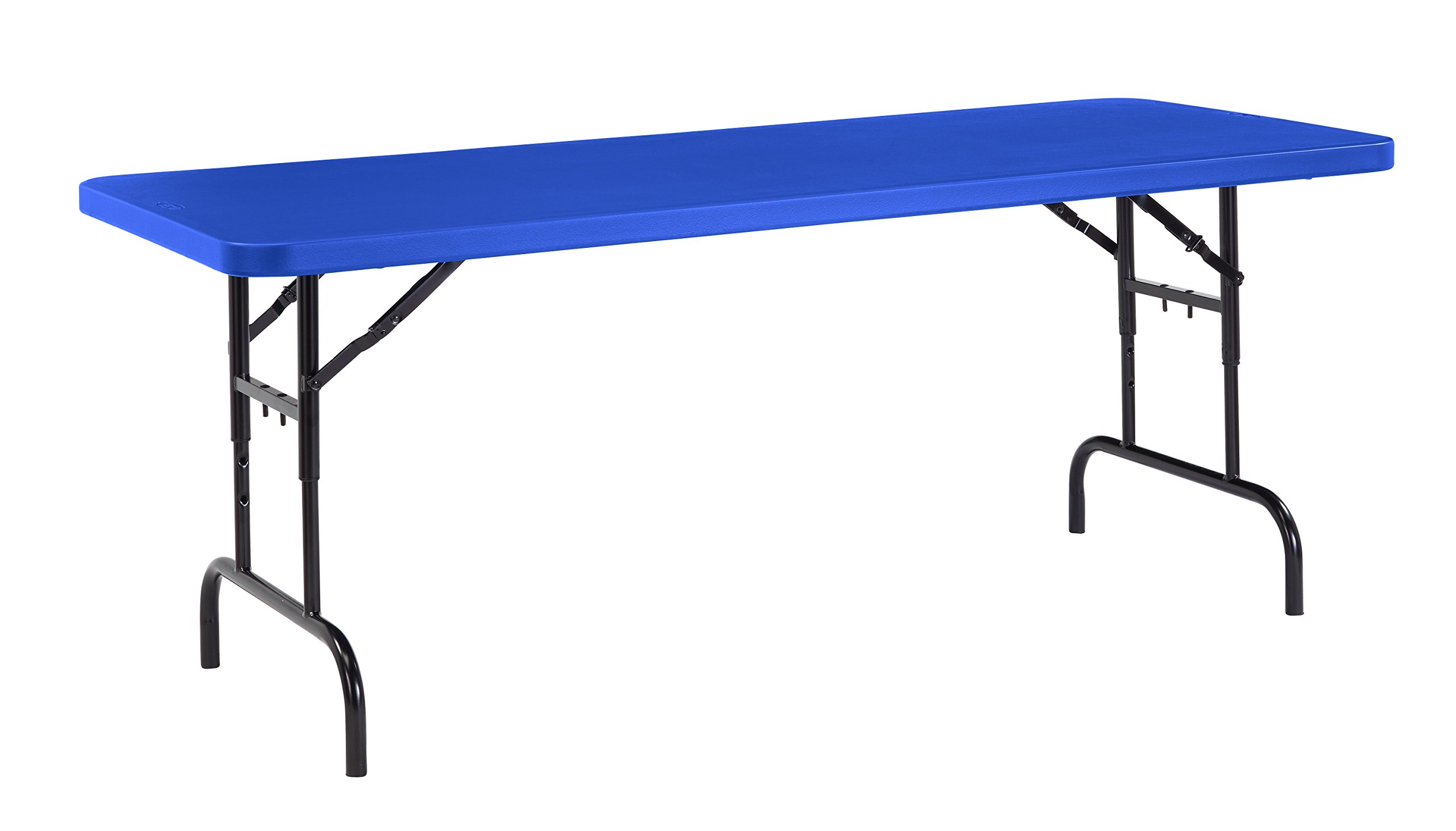 National Public Seating BTA3072 Series Steel Frame Rectangular Adjustable Height Plastic Top Folding Table, 1000 lbs Capacity, 72'' Length x 30'' Width x 32'' Height, Blue/Black