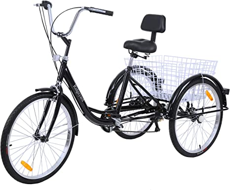MuGuang Triciclo Adulto 24 Pulgadas 7 Velocidades Bicicleta 3 ...
