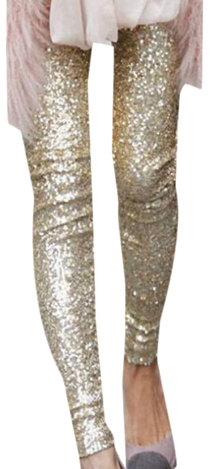 BYBU Women Sequins Leggings Fashion Pants Bling Tights