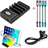 USB Charging Station, OPAI 4 Ports Multiple USB Charger [Home Desktop Charging Dock] Organizer for iPhone, iPad, Samsung, Laptops, LG, Smartphones and Tablets [Includes 4 Pack charging Cable] (Black)