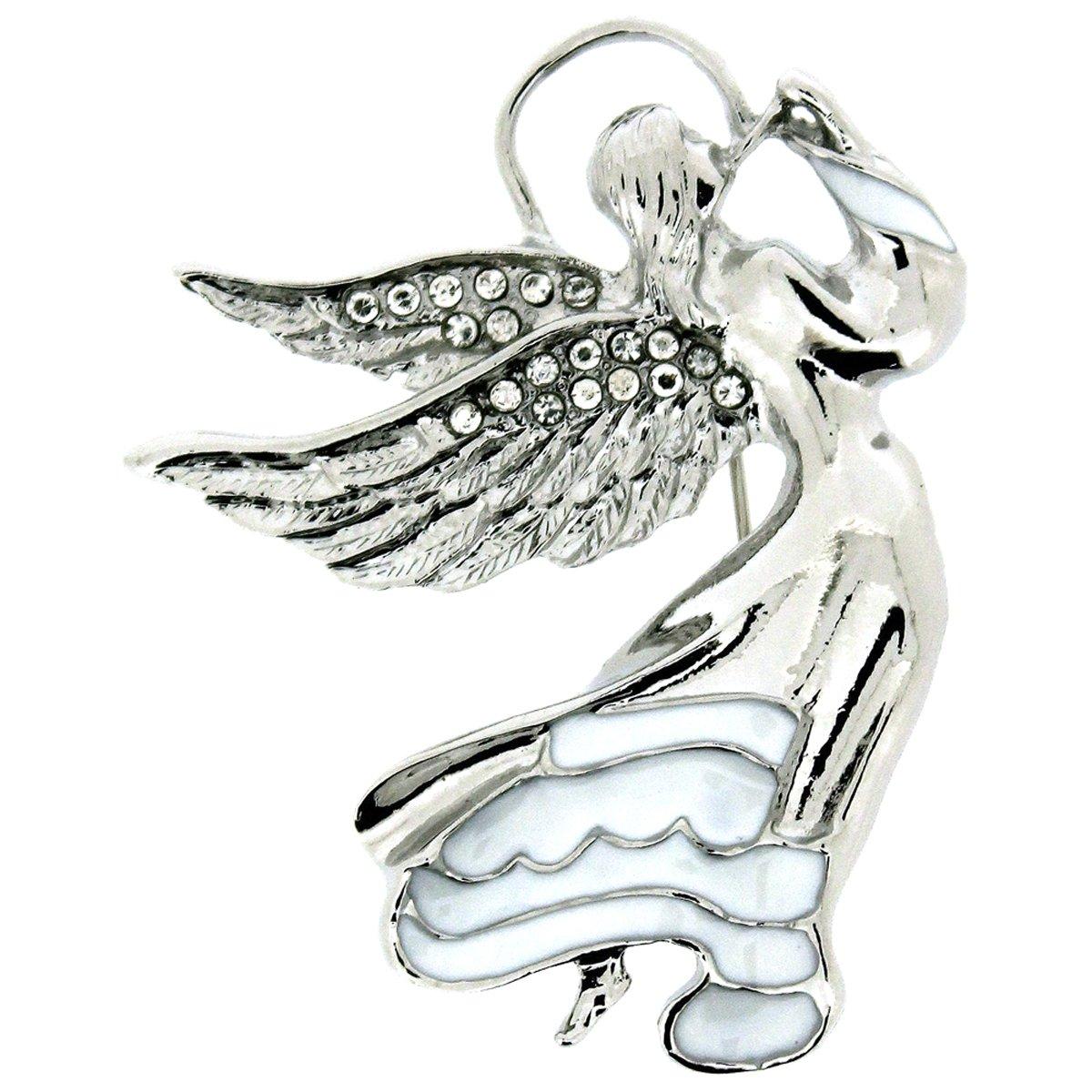PYNK Jewellery Broche en argent et cristaux Swarovski transparents Motif ange gardien volant 11002683