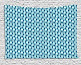 asddcdfdd Ikat Tapestry, Nautical Inspired Color Palette Rhombus Arrow Shapes Africa Middle East Culture, Wall Hanging for Bedroom Living Room Dorm, 80 W X 60 L Inches, Blue Turquoise