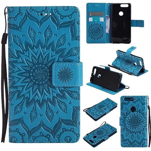 cowx Honor 8étui en cuir synthétique Bookstyle Étui à rabat avec support en silicone souple Housse étui coque pour Huawei Honor 8étui portefeuille de protection en cuir PU