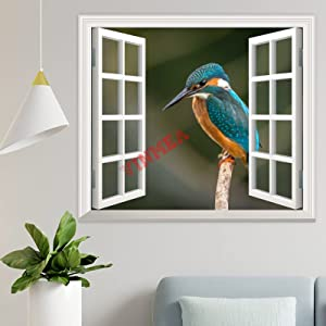 3D Wall Decals Window Looking Out,Perched Blue and Orange Bird Wall Stickers Murals Wallpaper Art Decor for Living Room,Home Walls,Kids Bedroom,Nursery (24