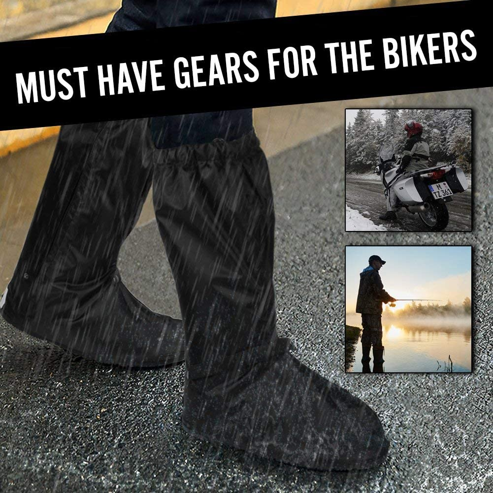 Black Waterproof Shoe Covers size Men 8.5-9.5 Women 10-11 for Motorcycle Bike Riding Cycling with Sturdy Zipper Elastic Bands Reflective Heels and Red Line