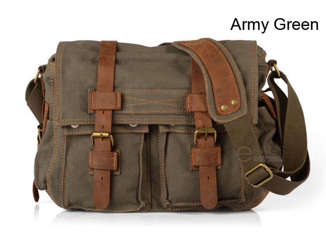Travelogy Luggage Army Green Mens Military Canvas Leather Satchel School 14 Laptop Shoulder Messenger Bag