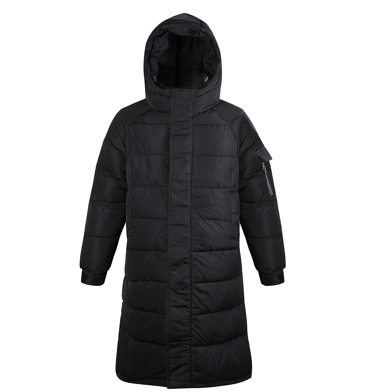 88523296e KENGURU COVE Down Parkas Coat for Men Women Thickened Puffer Jacket Long  Warm Light Weight Hooded Cotton Down Jacket Black