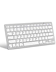 OMOTON Ultra-Slim Bluetooth Keyboard for Apple iPad Air, iPad Mini, iPad Pro and other iOS Devices, Apple Edition, White