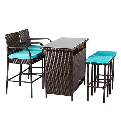 6703a96c52c3 Amazon.com: Kinbor Patio Outdoor Wicker Barstool Set Pool Furniture Patio  High Chair (Brown-5 Piece Patio Bar Set): Garden & Outdoor